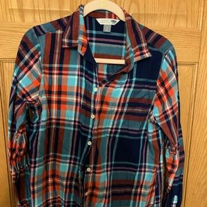 Old Navy Plaid Button Down Shirt, size L